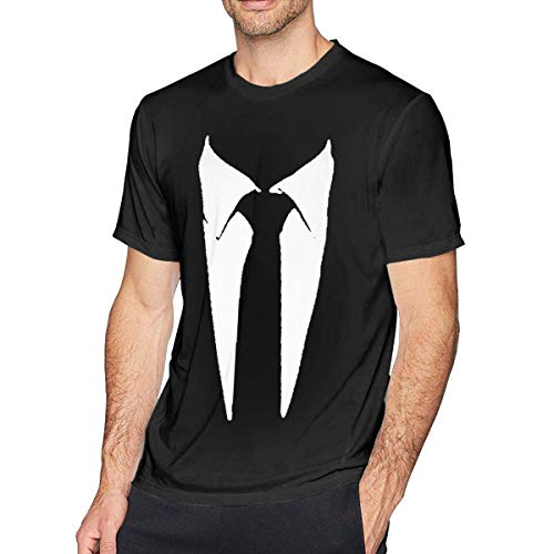 Tuxedo Tie Printed Men Short Sleeve T Shirts,Black,L - White Tuxedo T-shirt