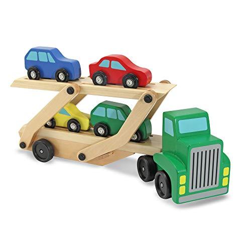 ransporter aus Holz mit Fahrzeugen (6 Teile) ()