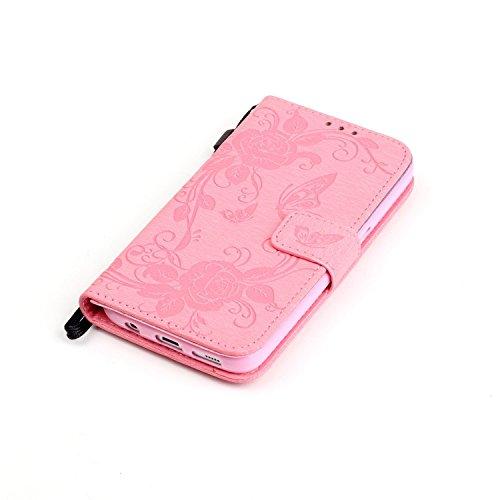 Coque pour Apple iPhone 6S/ 6 4.7 Zoll ,Housse en cuir pour Apple iPhone 6S/ 6 4.7 Zoll ,Ecoway étui en cuir PU Cuir Flip Magnétique Portefeuille Etui Housse de Protection Coque Étui Case Cover avec S YB Pink Butterfly Imprimer