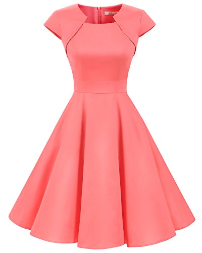 Homrain Damen 50er Vintage Retro Kleid Party Kurzarm Rockabilly Cocktail Abendkleider Coral M