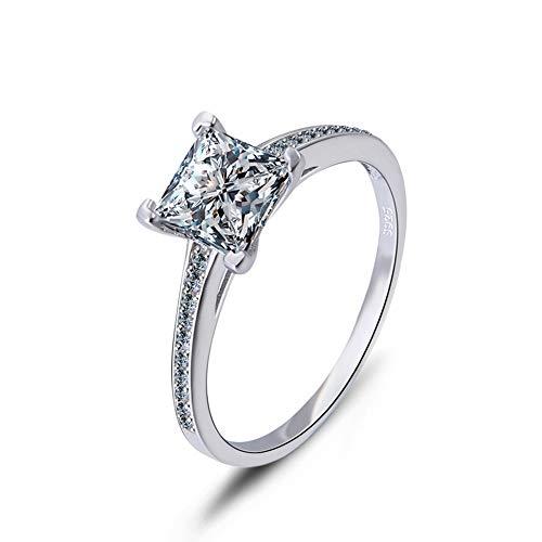 JIAXUN Ring 925 Sterling Silber Einfache Zirkonring Modische Damen Accessoires, Geburtstagsgeschenke, Valentinstagsgeschenke, Freundin Geschenke, Frau Geschenke