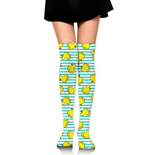 Happy Yellow Ducks On Teal Stripes Women Girls Funny Knee High Socks Novelty Crew Socks Boot Socks Purple Socks - Purple Knee High Boots