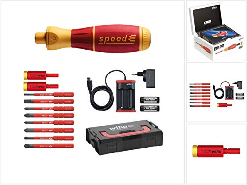 Wiha speedE® elektronischer Schraubendreher - Set 2 in L-Box - 13-teilig mit 2x 1,5 Ah Akku und Ladegerät + Bits + Torque Adapter 2,8 Nm (41912) + Torque Adapter 2,0 Nm (41342)
