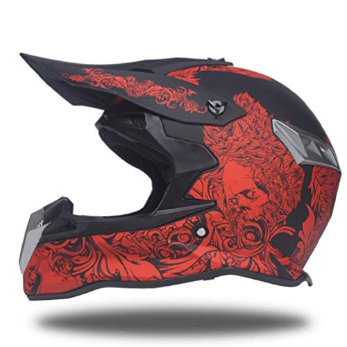 GWM Plein Visage Racing Moto Casque lumière Respirant Ski équipement de Sport Hommes et Femmes personnalité rétro Mode Casque intégral (Couleur : Red, Taille : M)