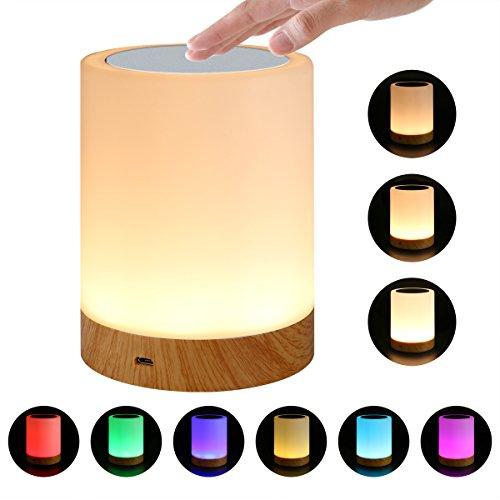 Luz de noche, lámpara de noche Smart Touch (Luz blanca cálida regulable de 3 niveles y seis colores que cambian de color RGB)