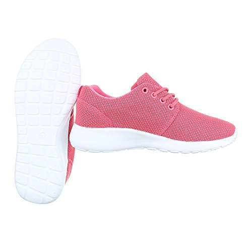 Ital-Design Low-Top Sneaker Damenschuhe Low-Top Sneakers Schnürsenkel Freizeitschuhe Pink KK-60