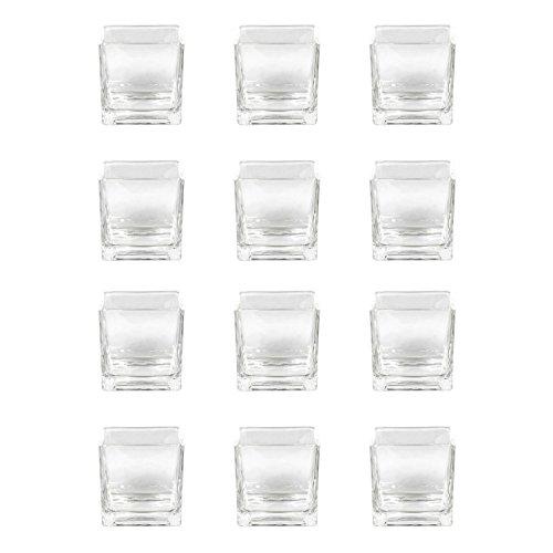 Sandra Rich RF 75-75 Vase Windlicht 'Cube' Würfel, Glas, eckig 8x8cm, klar (12 Stück)