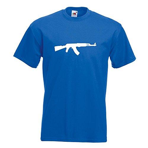 KIWISTAR - AK 47 Kalaschnikow T-Shirt in 15 verschiedenen Farben - Herren Funshirt bedruckt Design Sprüche Spruch Motive Oberteil Baumwolle Print Größe S M L XL XXL Royal