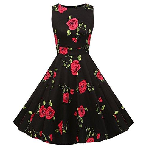 QIYUN.Z Frauenweinlese 1950'S Sleeveless Blumen Gedrucktes Partei-Cocktail-Schaukelkleid Schwarz und Rot Stieg
