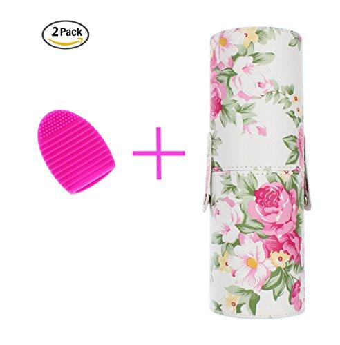 Luft Fall Top (bairun groß Professioneller Make-up-Pinsel Zylinder Halter tragbar Fall mit hoher Qualität PU-Leder und 1inkl. Pinsel Ei ideal cleanerset für Zuhause oder unterwegs)