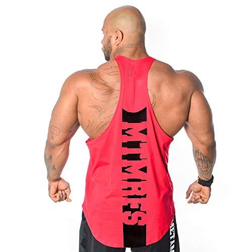 Männer Ärmelloses Trainings-Muskel-T-Shirt Bodybuilding-Trägershirt Laufsport Hemden Weste (L, Rot-A)