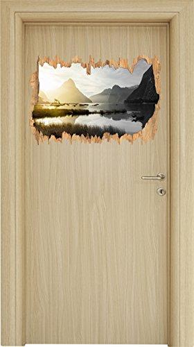 Milford Sound Neuseeland B&W Detail Holzdurchbruch im 3D-Look , Wand- oder Türaufkleber Format: 62x42cm, Wandsticker, Wandtattoo, Wanddekoration