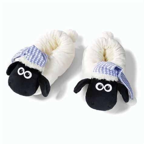 NICI 41476Shaun Le Pantofole con Dormiglione, 38-41, Colore: Bianco/Nero