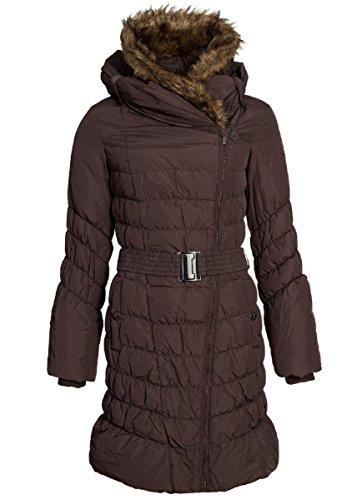 Eight2Nine Damen Daunen Wintermantel mit großzügiger Kapuze, braun Braun