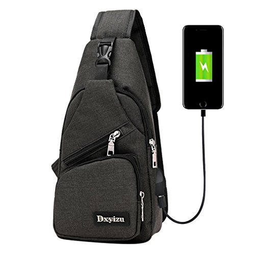 Sling borsa a tracolla, USB Outdoor Sport Casual Canvas sbilanciare zaino crossbody Sling borsa a tracolla by Kangrunmy® Nero