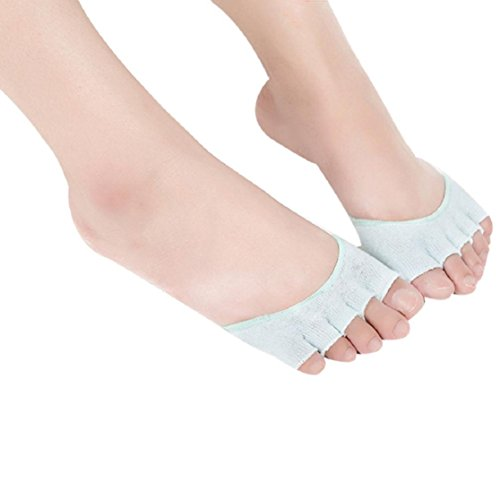 OverDose Damen Invisible Yoga Gym Backless Zehensocken Halb Grip Heel Fünf-Finger-Socken (Grün) (Tank-top Skort Rock)