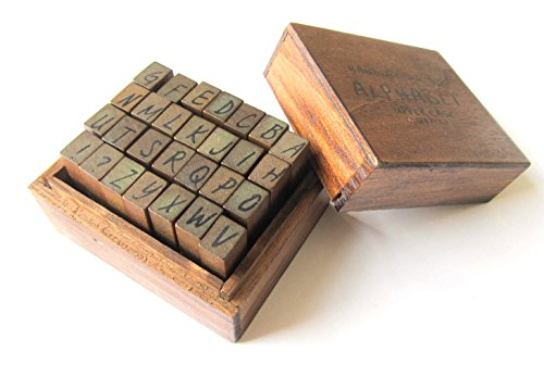 26x Stempel Buchstaben Letter Initialen ABC Handschrift Miniblings Holz + Kasten