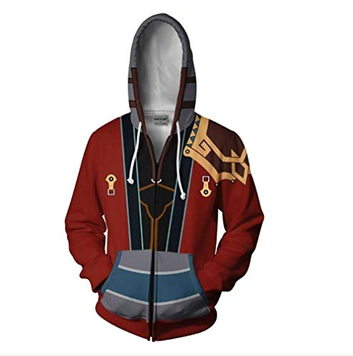 HXFAFA Kapuzenpullover-Final Fantasy Man Hoodies Zip Sweatshirts Pullover Freizeit Rot 3D Druck Paar Jacke Unisex 4XL Fantasy-zip Hoodie
