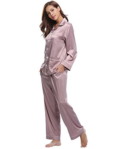Aibrou Damen Herbst Klassische Schlafanzug Satin V-Ausschnitt Zweiteiliges Pyjama Nachtwäsche Set Rosa S