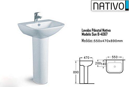 Nativo SUN B-4067 - Lavabo con pedestal, gran calidad-precio, fabricación artesanal, diseño exclusivo Nativo para ...