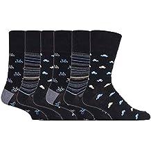 6 pares Gentle Grip calcetines hombre sin elastico 39-45 eur colores surtidos cuadrados