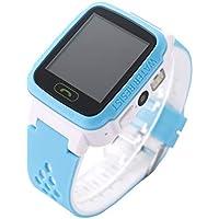 Hemobllo Kinder Smart Uhr Telefon Wasserdicht mit Touch Screen GPS Positionierung Foto Taschenlampe (Weiß und Blau)