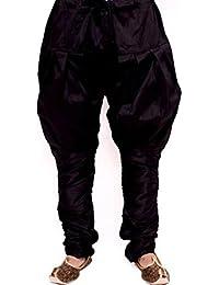 Larwa Men's Silk Pyjama (Pyjamablack_Black_Free Size)