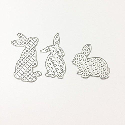 (Ruda Stanzschablone aus Metall, 3 x Kaninchen, DIY Scrapbooking, Album, Papier Karten, Prägung)