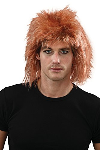 Mens Shaggy Ginger Wig Accessory for 70s Hippie Hippy Fancy Dress Wig
