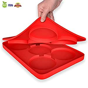 snaideal Silicon Hamburger Patty Maker stampo rotondo Hamburger Master 5 in 1 bambino pronto per biscotti congelatore contenitore Round Shape Red