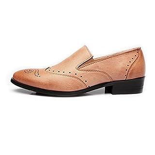 Jingkeke Herren Low-Top-Business-Schuhe Matte Breathable Hollow Carving PU-Leder Slip-on gefüttert auffällig (Color : Beige, Größe : 42 EU)