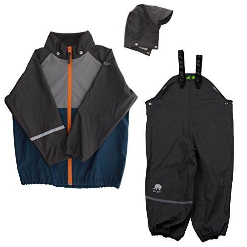 Celavi Regen Anzug für Jungen, Jacke und Hose, Alter: ab 3 Jahren, Größe: 100, Farbe: Grau, 310147