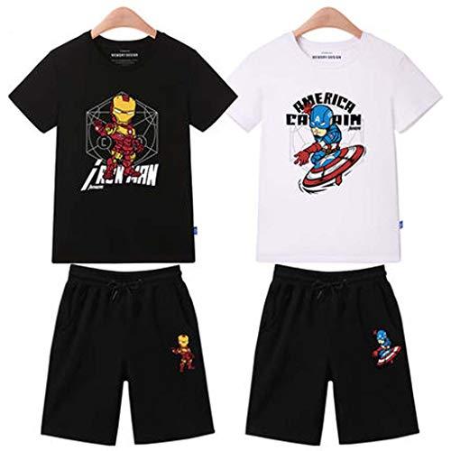 Spiderman Kinderbekleidung Kurzarm Set, Sommer Jungen Kleinkind Iron Man Baumwolle Tops T-Shirt + Kurze Hosen Set 3~14 Jahre Alt