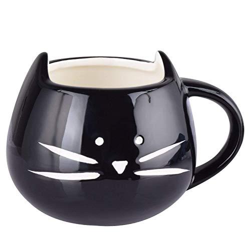 Especificación: Color:negro Material: cerámica Capacidad: 300 ml Dimensión: aprox. 12.5 * 11.3 * 8 cm Uso: Taza con bebidas frías o calientes.  ♥ Adecuado para las bebidas frías / calientes como el café, agua, jugo de frutas, té, leche. ♥ Es un ex...