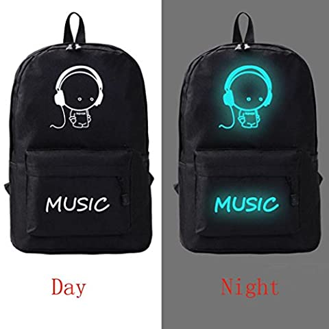 Kolylong Sacoche à dos Noctilucent drôle Sac à dos scolaire fluorescent unisexe Sac à dos étudiant Student Backpack (E)