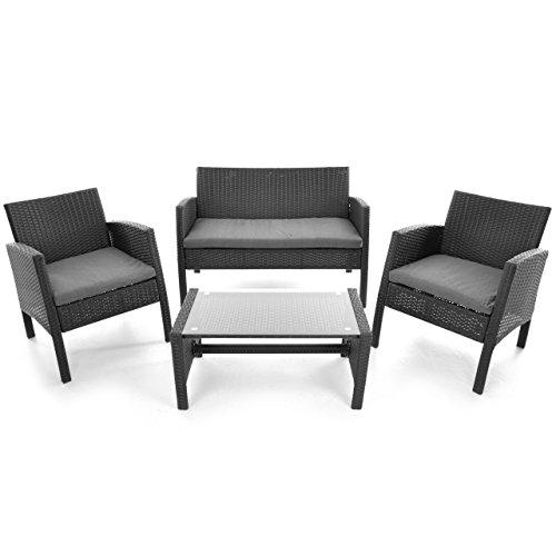 Rattanset 4tlg Sitzecke mit Tisch mit 2 Sessel und 1 Sofa Garnitur Sitzgruppe Polster grau Terrasse Gartenmöbel Poly Rattan Sicherheitsglas Lounge In/Outdoor 4-Sitzer 4-teilig - 9