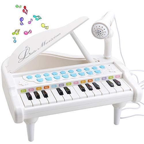 Amy & Benton Klavier Keyboard Spielzeug ab 1 2 3 Jahre, 24 Tasten Kinder Musikspielzeug mit Mikrofon, Mädchen Spielzeug Musik Instrumente Geschenk für Baby und Kleinkinder