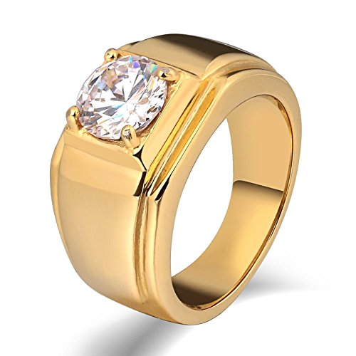 Beydodo Edelstahl Ring Männer mit Zirkonia Hochglanzpoliert Rechteck Breite 10 MM Partnerring Retro Ring Gold Gr. 57 (18.1) (Region 10 Kostüm)
