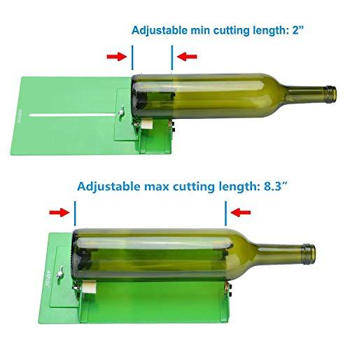 AGPtek Kit Coupe Verre pratique professionnel Coupe Bouteille solide, Outil en Acier avec Diamant pour couper Bouteille en Verre, DIY/Bricolage Outil de recyclage artisanal facile à utiliser