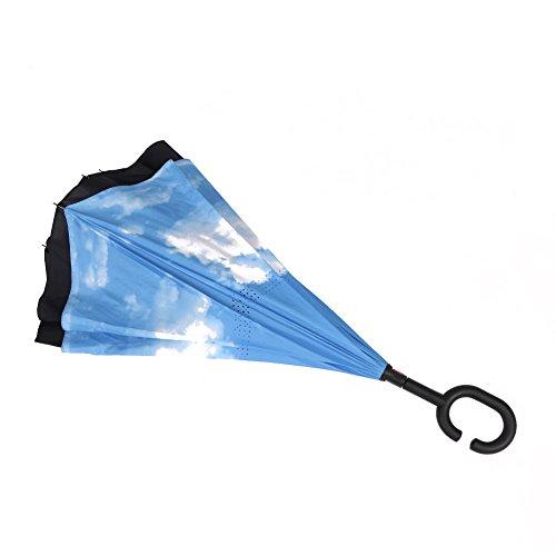 MYC Yi Lian inverso pieghevole doppio strato invertito Umbrella anti-UV e ombrelloni e la pioggia con le mani a forma di C-libera della maniglia, le migliori compatto da viaggio Ombrello per l'auto (cielo della nube)