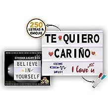 Caja de Luz LED A4 con 250 Letras Símbolos Emojis, 2 Marcadores Borrables y 20