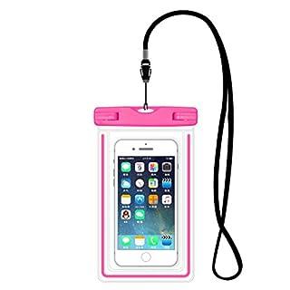 Aituo Waterproof bag for mobile phone,Fingerprint unlock phone Water rafting, waterproof bag, swimming necessary (Pink)