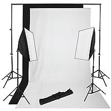 2 softbox 50x70cm + 2 telón de fondo 3x1.6m (negro blanco) + 2x2.8m sistema soporte continua Iluminación Kit para estudio