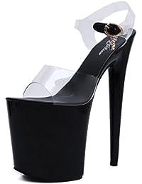 HBDLH Di bell'aspetto/scarpe da donna/9Cm Tacco Alto Pantofole Forte Di Cuoio Con Summer Pendio Con Hollow Muffin...