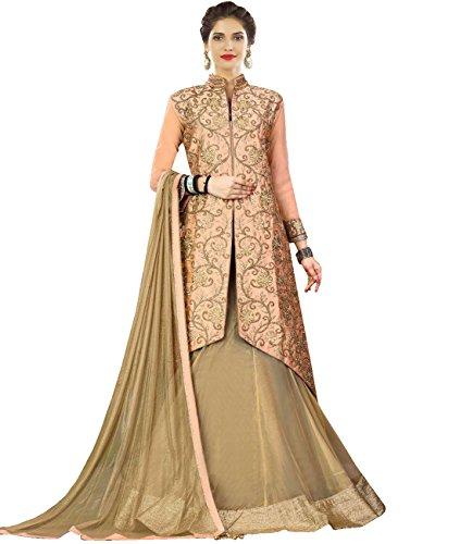 Indian Ethnicwear Bollywood Pakistani Wedding Beige Flare Lehenga Semi-stitched