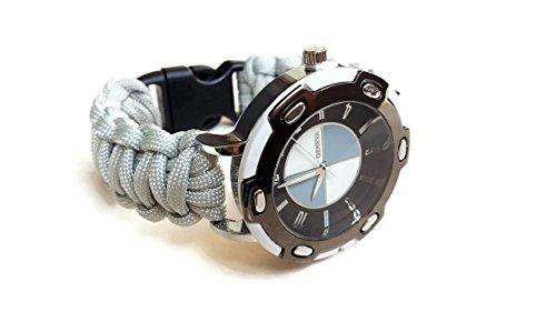 Orologio da polso 17/17,5 cm uomo sportivo paracord 550 Cinturino grigio di corda Regalo per lui