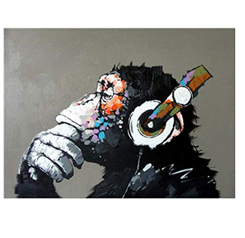 LKHOV Malen nach Zahlen Digitale Malerei Kein Rahmen Kopfhörer AFFE DIY Malen Nach Zahlen Wohnkultur DIY Leinwand Ölgemälde Für Wohnzimmer 40 cm x 50 cm