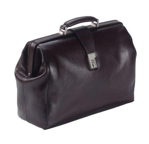 Dermata borsa da medico in pelle, cartella da medico pelle 43 cm compartimenti portatile cognac Marrone (Braun)