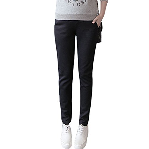 Laixing Fashion Women Soft Maternity Pregnant Pants Prop Belly Trousers Casual Leggings Black