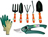 #6: Easy Gardening - 701 - Garden Tools Kit (6Tools) + Knit Gardening Gloves - Weeder,Trowel Big,Trowel Small,Cultivator,Fork, Pruner